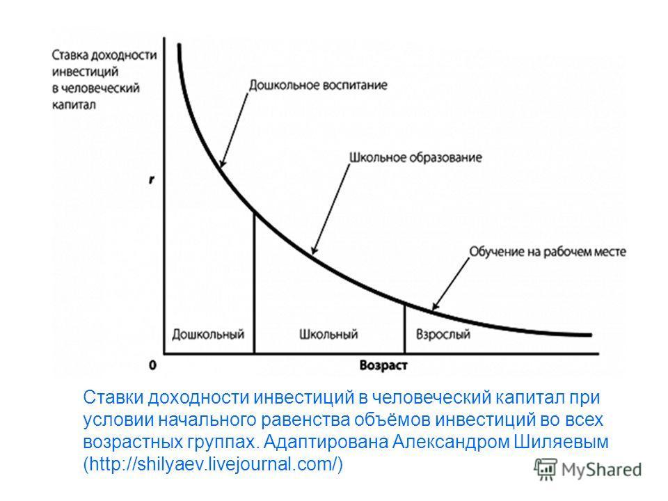 Ставки доходности инвестиций в человеческий капитал при условии начального равенства объёмов инвестиций во всех возрастных группах. Адаптирована Александром Шиляевым (http://shilyaev.livejournal.com/)