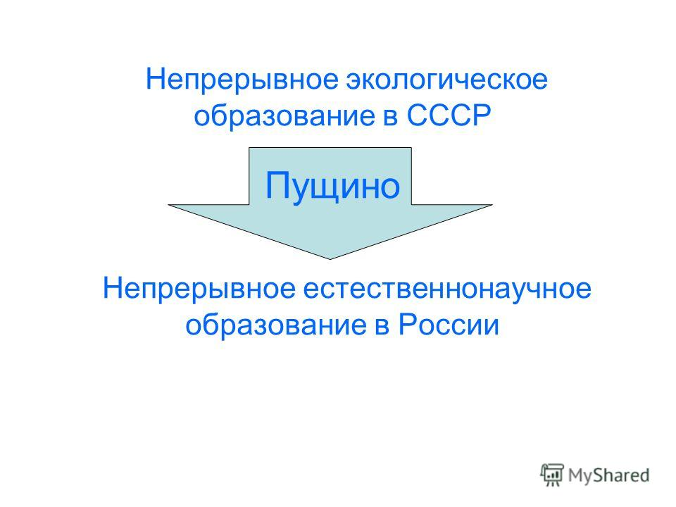 Непрерывное экологическое образование в СССР Непрерывное естественнонаучное образование в России Пущино