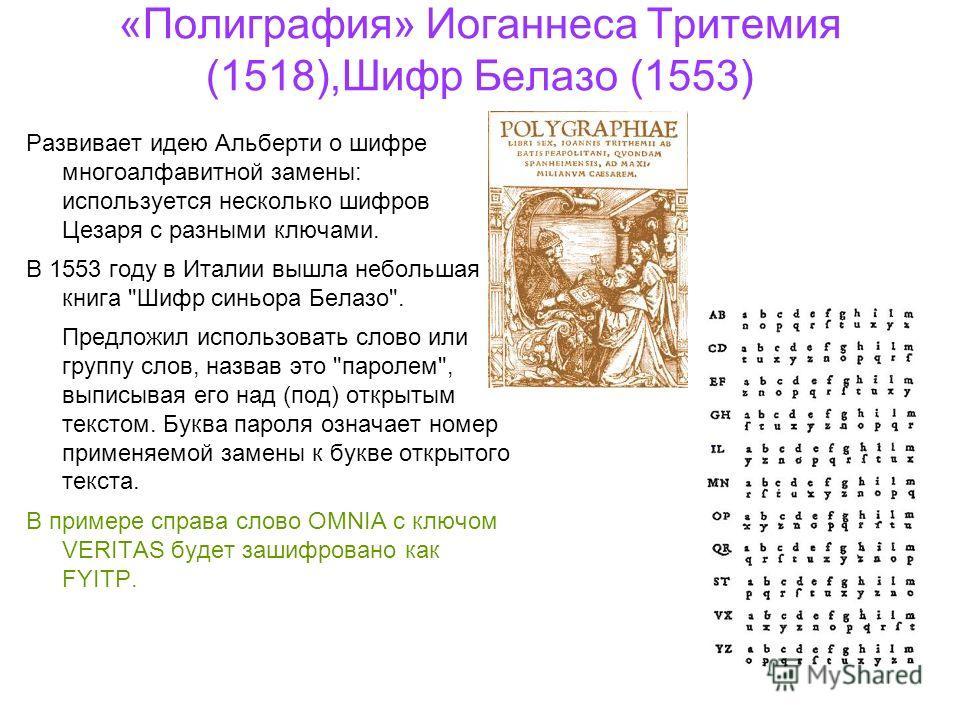 «Полиграфия» Иоганнеса Тритемия (1518),Шифр Белазо (1553) Развивает идею Альберти о шифре многоалфавитной замены: используется несколько шифров Цезаря с разными ключами. В 1553 году в Италии вышла небольшая книга