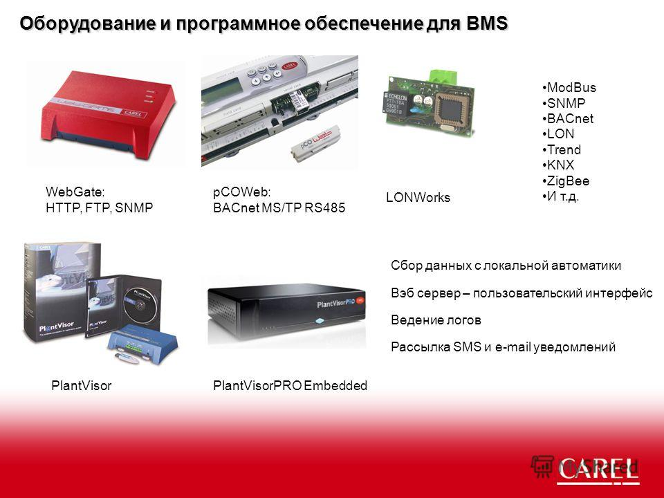 WebGate: HTTP, FTP, SNMP pCOWeb: BACnet MS/TP RS485 LONWorks Оборудование и программное обеспечение для BMS ModBus SNMP BACnet LON Trend KNX ZigBee И т.д. Вэб сервер – пользовательский интерфейс Ведение логов Рассылка SMS и e-mail уведомлений Сбор да