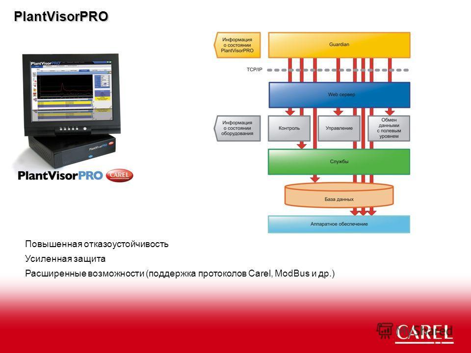 PlantVisorPRO Повышенная отказоустойчивость Усиленная защита Расширенные возможности (поддержка протоколов Carel, ModBus и др.)