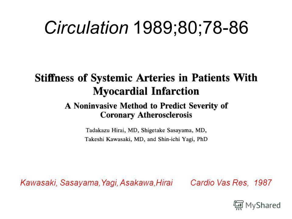 Circulation 1989;80;78-86 Kawasaki, Sasayama,Yagi, Asakawa,Hirai Cardio Vas Res, 1987