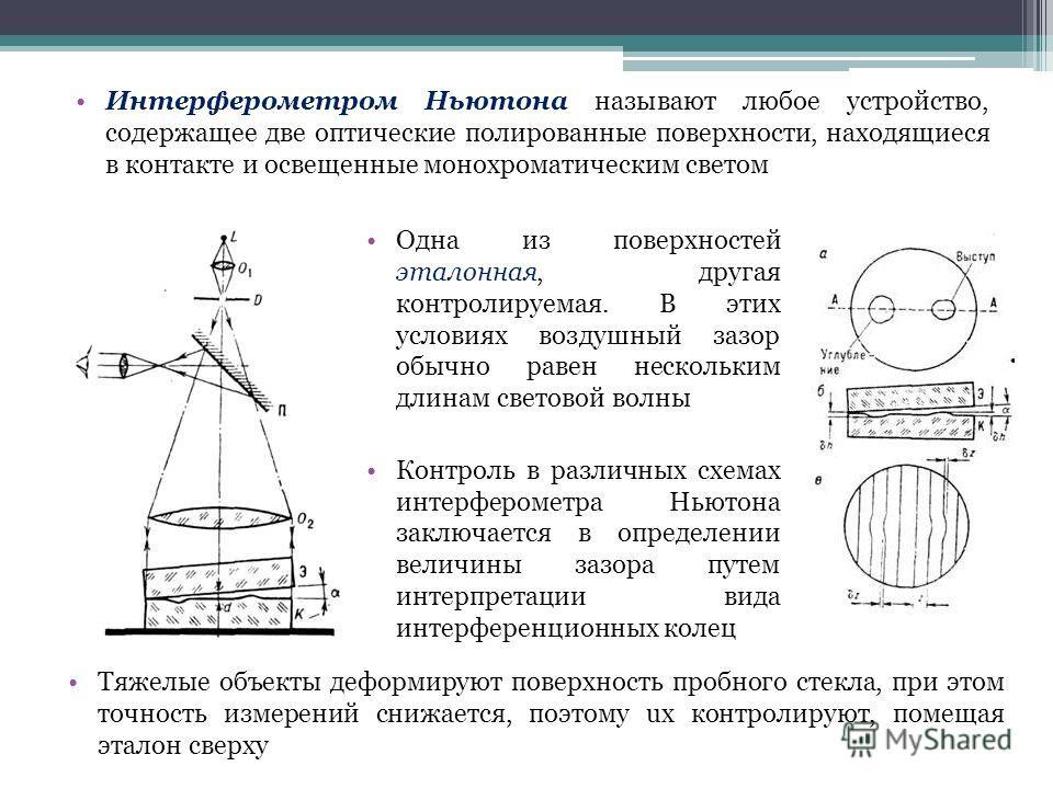 Интерферометром Ньютона называют любое устройство, содержащее две оптические полированные поверхности, находящиеся в контакте и освещенные монохроматическим светом Одна из поверхностей эталонная, другая контролируемая. В этих условиях воздушный зазор