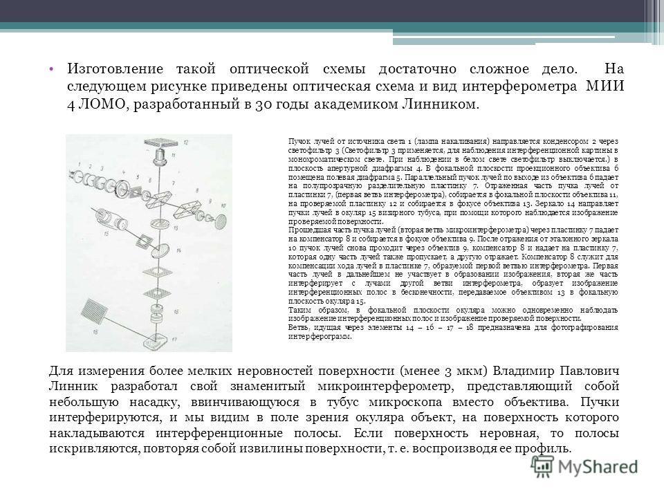 Изготовление такой оптической схемы достаточно сложное дело. На следующем рисунке приведены оптическая схема и вид интерферометра МИИ 4 ЛОМО, разработанный в 30 годы академиком Линником. Для измерения более мелких неровностей поверхности (менее 3 мкм