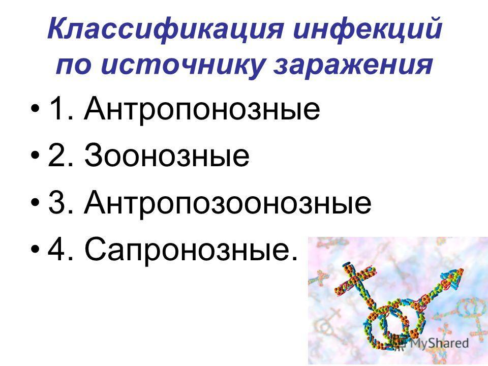 Классификация инфекций по источнику заражения 1. Антропонозные 2. Зоонозные 3. Антропозоонозные 4. Сапронозные.