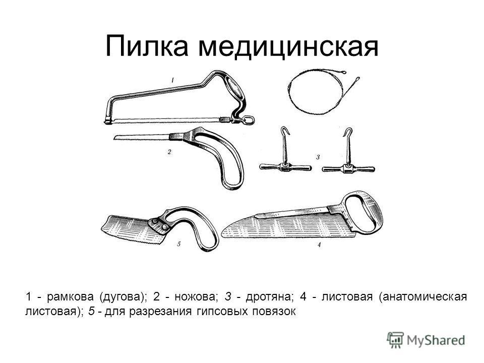 Пилка медицинская 1 - рамкова (дугова); 2 - ножова; 3 - дротяна; 4 - листовая (анатомическая листовая); 5 - для разрезания гипсовых повязок