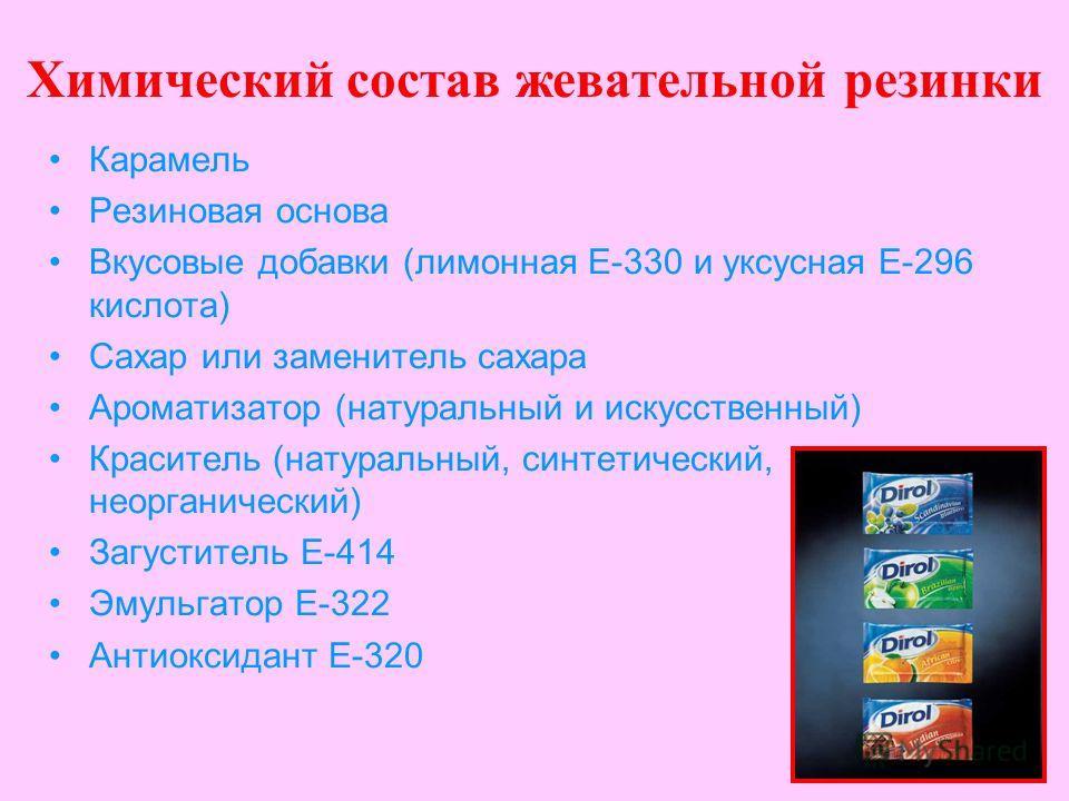 Химический состав жевательной резинки Карамель Резиновая основа Вкусовые добавки (лимонная Е-330 и уксусная Е-296 кислота) Сахар или заменитель сахара Ароматизатор (натуральный и искусственный) Краситель (натуральный, синтетический, неорганический) З