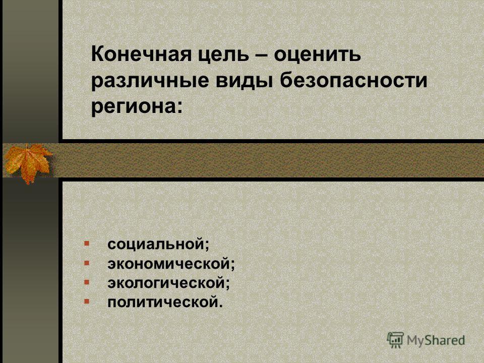 Конечная цель – оценить различные виды безопасности региона: социальной; экономической; экологической; политической.