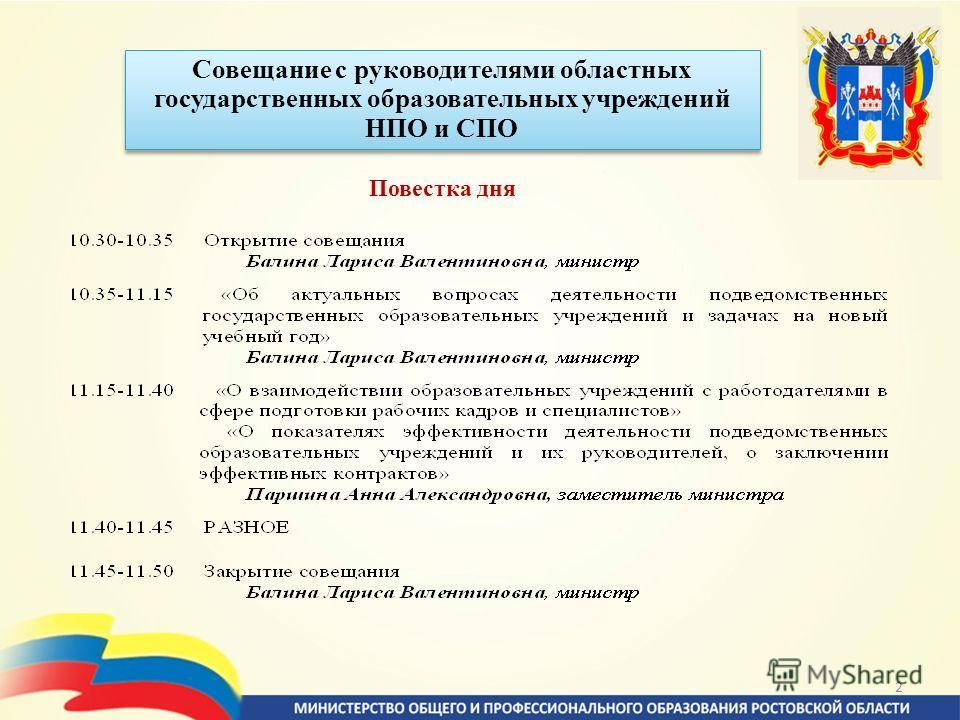 2 Совещание с руководителями областных государственных образовательных учреждений НПО и СПО Повестка дня