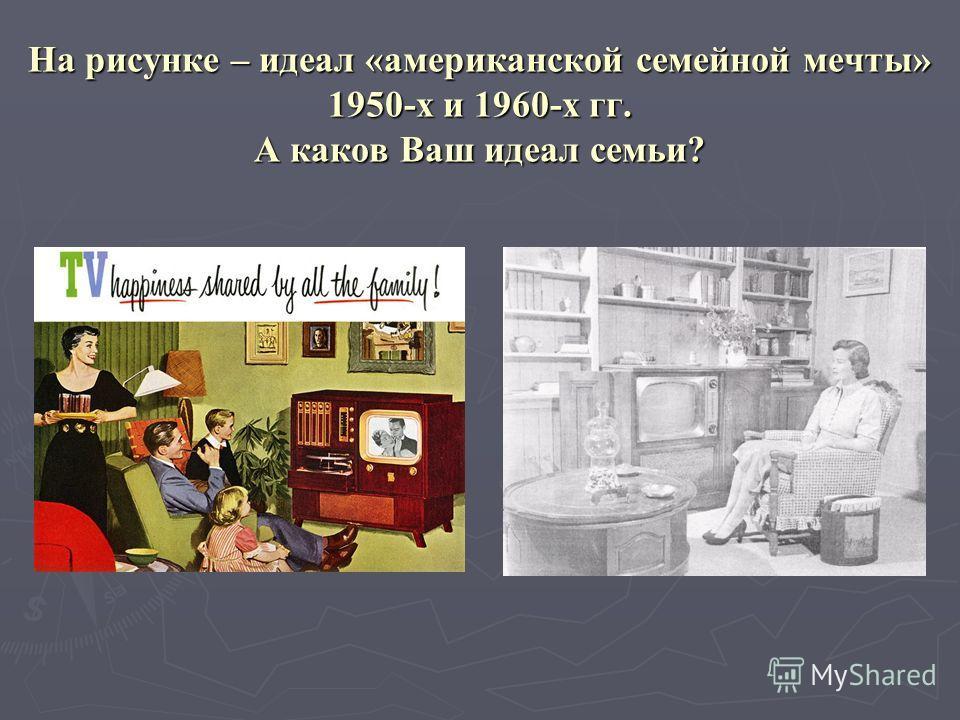 На рисунке – идеал «американской семейной мечты» 1950-х и 1960-х гг. А каков Ваш идеал семьи?