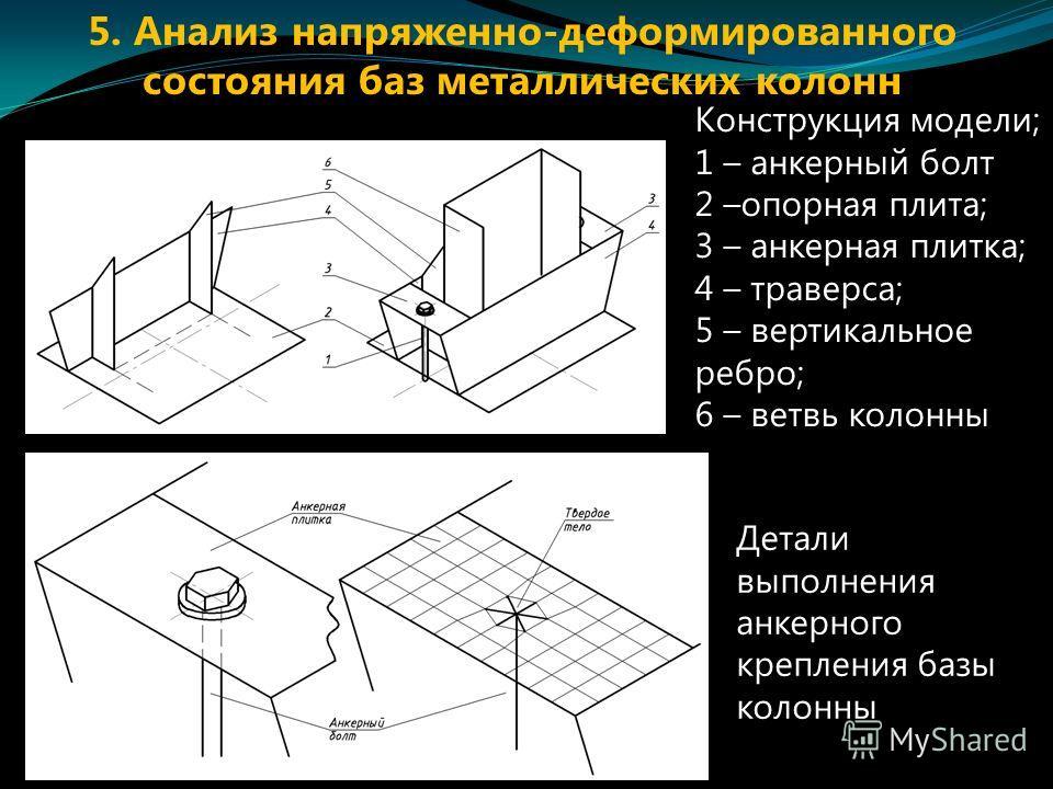 Конструкция модели; 1 – анкерный болт 2 –опорная плита; 3 – анкерная плитка; 4 – траверса; 5 – вертикальное ребро; 6 – ветвь колонны Детали выполнения анкерного крепления базы колонны 5. Анализ напряженно-деформированного состояния баз металлических
