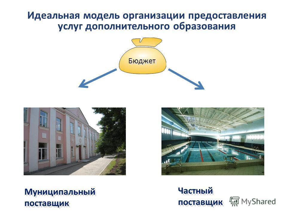 Идеальная модель организации предоставления услуг дополнительного образования Бюджет Муниципальный поставщик Частный поставщик