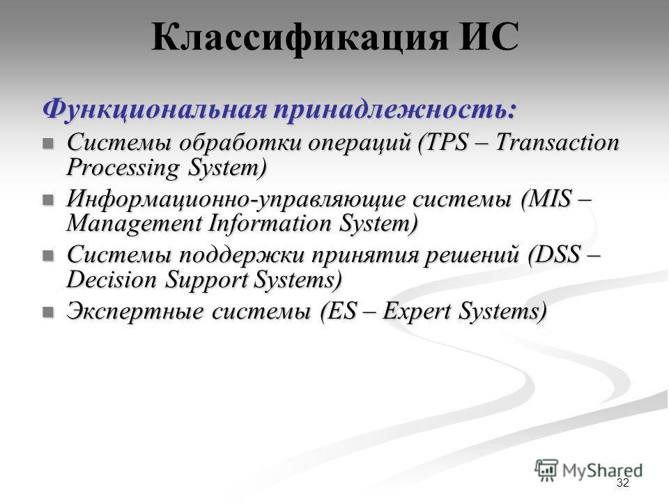 32 Классификация ИС Функциональная принадлежность: Системы обработки операций (TPS – Transaction Processing System) Системы обработки операций (TPS – Transaction Processing System) Информационно-управляющие системы (MIS – Management Information Syste