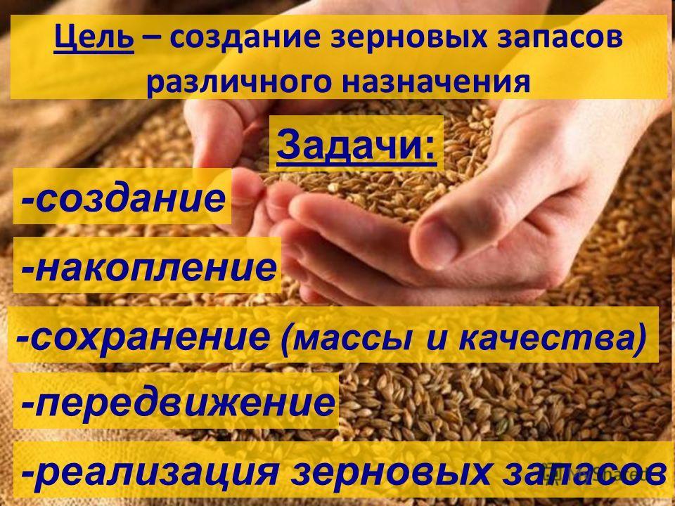 Цель – создание зерновых запасов различного назначения Задачи: -создание -накопление -сохранение (массы и качества) -передвижение -реализация зерновых запасов