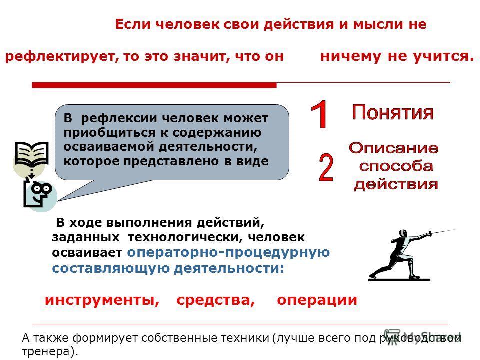 Если человек свои действия и мысли не рефлектирует, то это значит, что он В рефлексии человек может приобщиться к содержанию осваиваемой деятельности, которое представлено в виде ничему не учится. В ходе выполнения действий, заданных технологически,