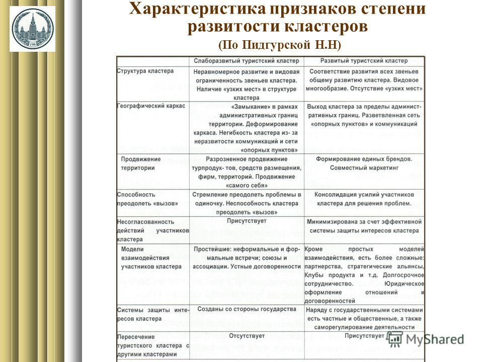 Характеристика признаков степени развитости кластеров (По Пидгурской Н.Н)