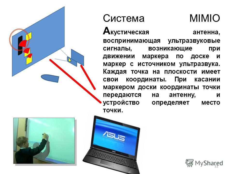 11 Система MIMIO А кустическая антенна, воспринимающая ультразвуковые сигналы, возникающие при движении маркера по доске и маркер с источником ультразвука. Каждая точка на плоскости имеет свои координаты. При касании маркером доски координаты точки п