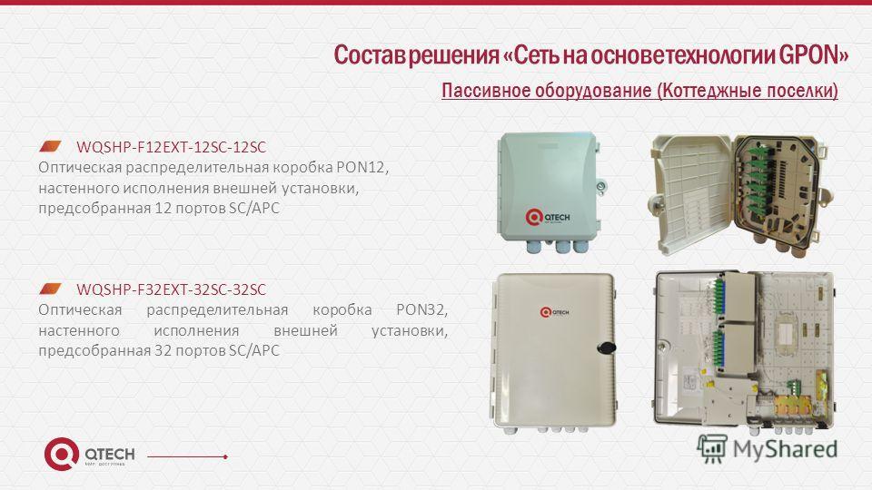Состав решения «Сеть на основе технологии GPON» Пассивное оборудование (Коттеджные поселки) WQSHP-F12EXT-12SC-12SC Оптическая распределительная коробка PON12, настенного исполнения внешней установки, предсобранная 12 портов SC/APC WQSHP-F32EXT-32SC-3