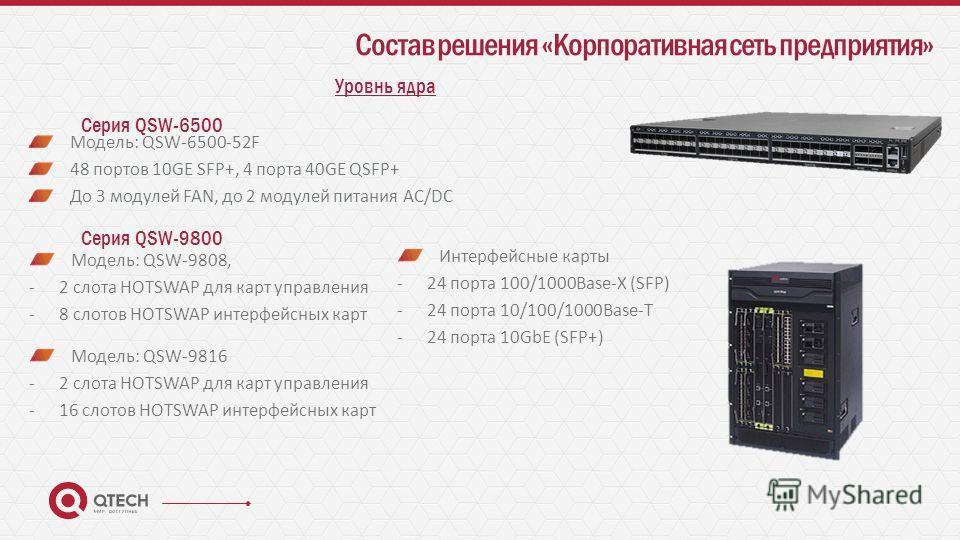 Состав решения «Корпоративная сеть предприятия» Уровнь ядра Серия QSW-6500 Модель: QSW-6500-52F 48 портов 10GE SFP+, 4 порта 40GE QSFP+ До 3 модулей FAN, до 2 модулей питания AC/DC Серия QSW-9800 Модель: QSW-9808, -2 слота HOTSWAP для карт управления