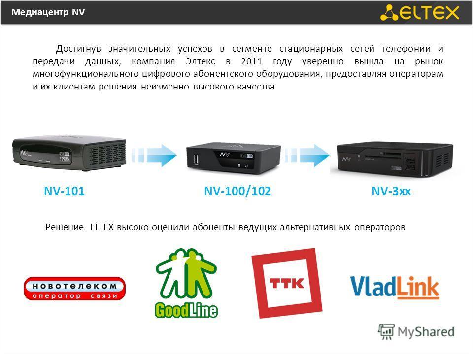 Медиацентр NV Достигнув значительных успехов в сегменте стационарных сетей телефонии и передачи данных, компания Элтекс в 2011 году уверенно вышла на рынок многофункционального цифрового абонентского оборудования, предоставляя операторам и их клиента