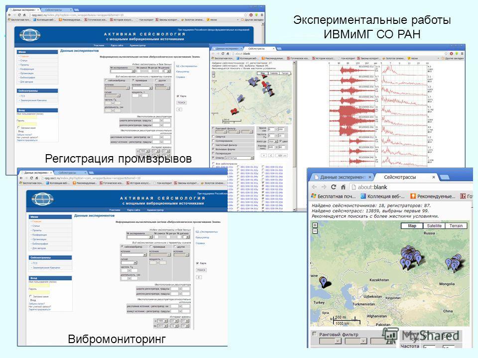 Регистрация промвзрывов Вибромониторинг Экспериментальные работы ИВМиМГ СО РАН
