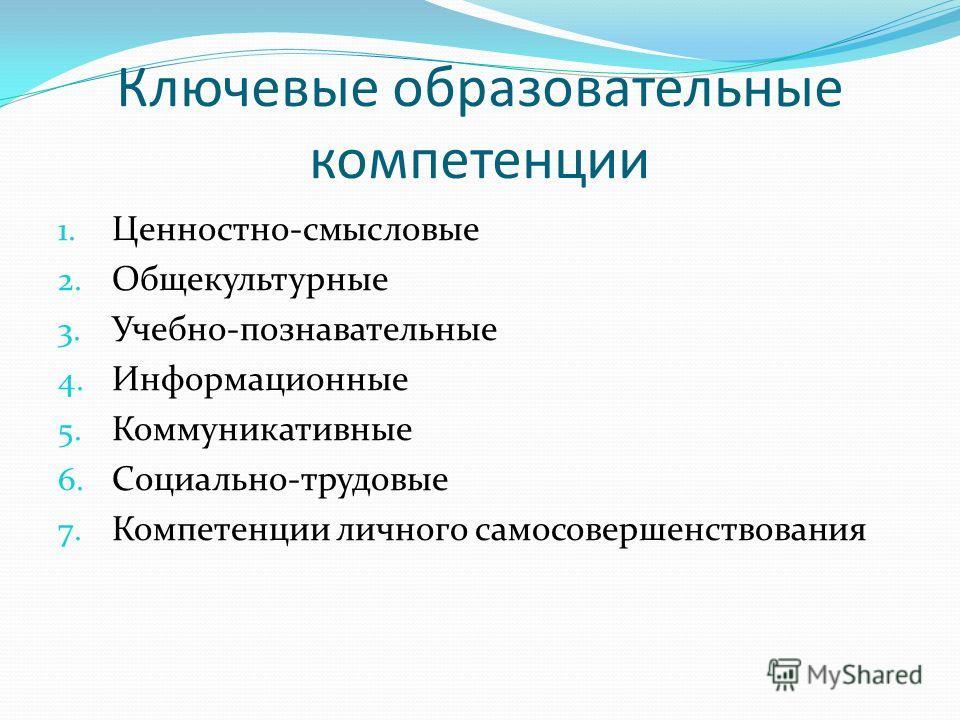 Ключевые образовательные компетенции 1. Ценностно-смысловые 2. Общекультурные 3. Учебно-познавательные 4. Информационные 5. Коммуникативные 6. Социально-трудовые 7. Компетенции личного самосовершенствования