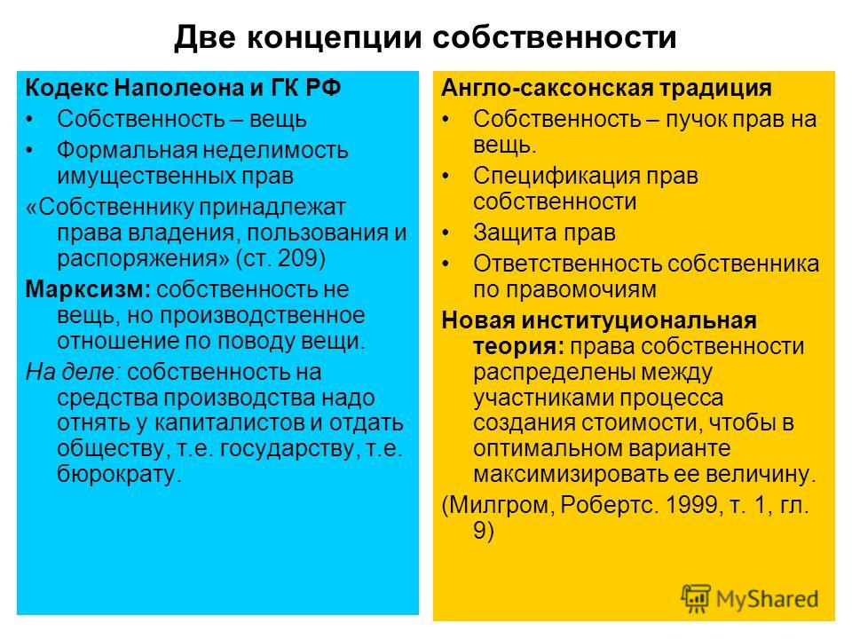 4 Две концепции собственности Кодекс Наполеона и ГК РФ Собственность – вещь Формальная неделимость имущественных прав «Собственнику принадлежат права владения, пользования и распоряжения» (ст. 209) Марксизм: собственность не вещь, но производственное