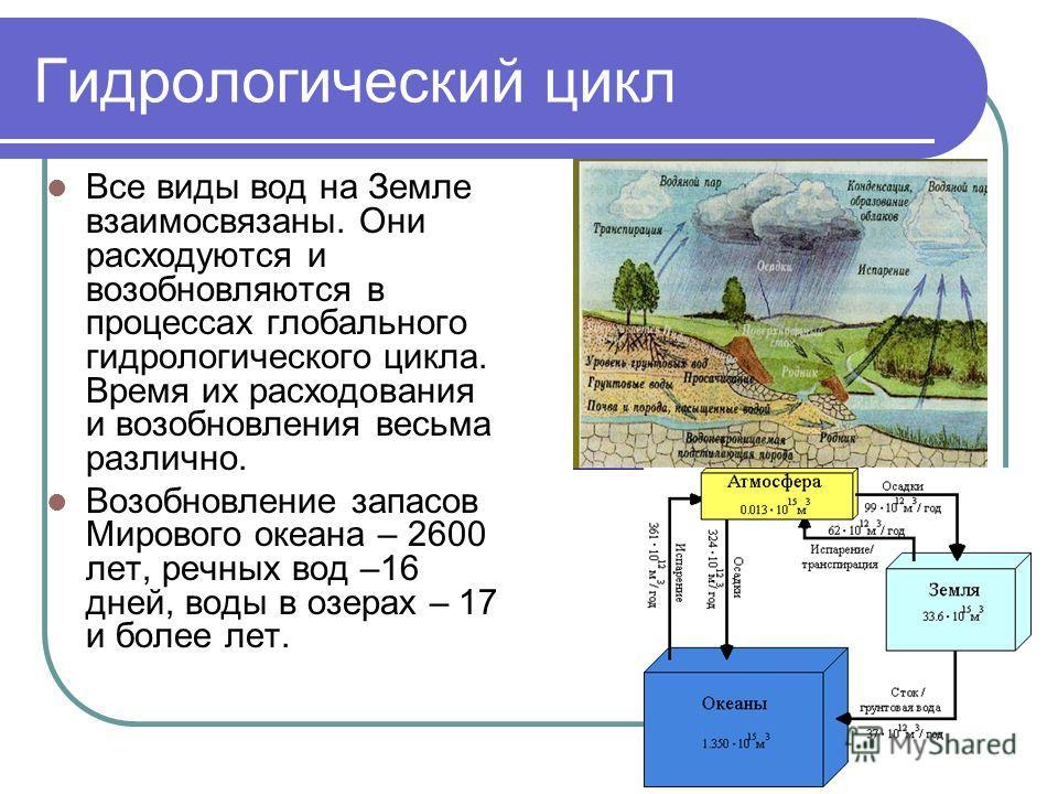 Гидрологический цикл Все виды вод на Земле взаимосвязаны. Они расходуются и возобновляются в процессах глобального гидрологического цикла. Время их расходования и возобновления весьма различно. Возобновление запасов Мирового океана – 2600 лет, речных