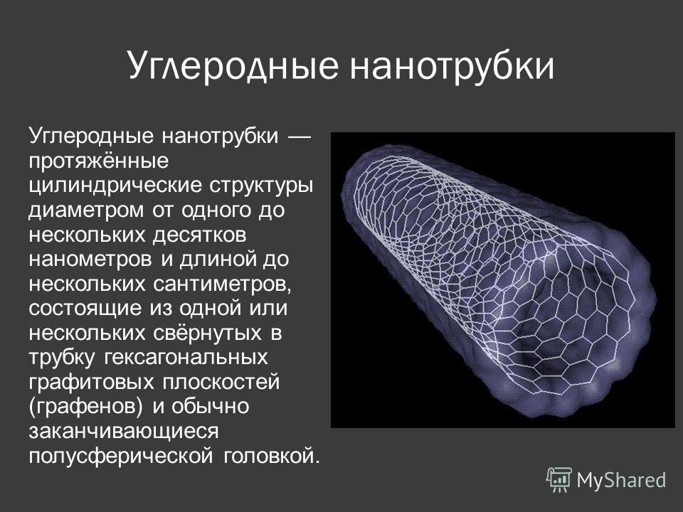 Углеродные нанотрубки Углеродные нанотрубки протяжённые цилиндрические структуры диаметром от одного до нескольких десятков нанометров и длиной до нескольких сантиметров, состоящие из одной или нескольких свёрнутых в трубку гексагональных графитовых