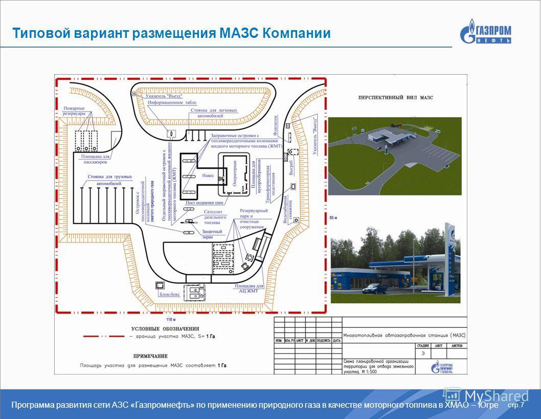 Типовой вариант размещения МАЗС Компании стр.7 Программа развития сети АЗС «Газпромнефть» по применению природного газа в качестве моторного топлива в ХМАО – Югре