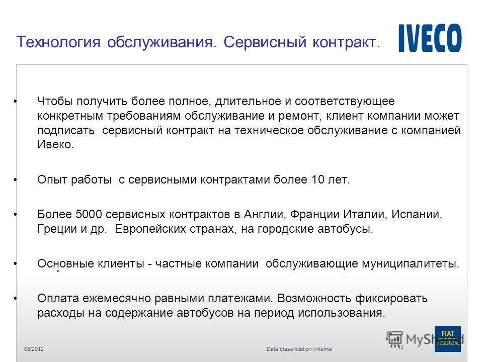 05/2012 Data classification: internal Технология обслуживания. Сервисный контракт. 14 - Чтобы получить более полное, длительное и соответствующее конкретным требованиям обслуживание и ремонт, клиент компании может подписать сервисный контракт на техн