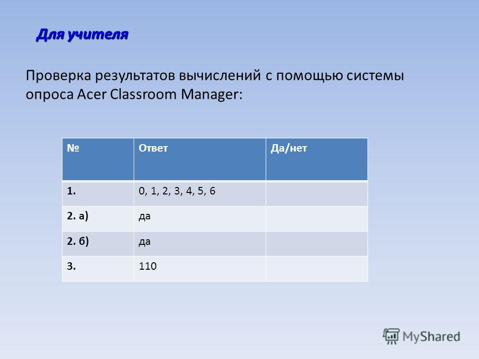 Для учителя Проверка результатов вычислений с помощью системы опроса Acer Classroom Manager: ОтветДа/нет 1.0, 1, 2, 3, 4, 5, 6 2. а)да 2. б)да 3.110