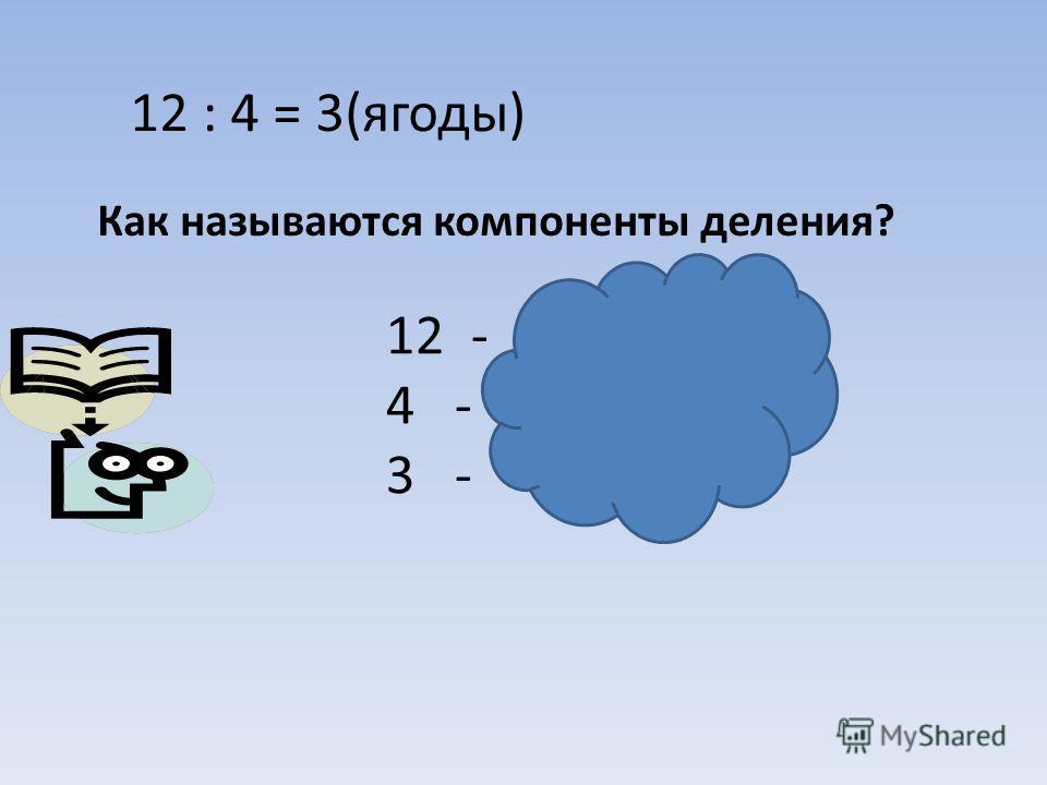 Как называются компоненты деления? 12 : 4 = 3(ягоды) 12 - делимое 4 - делитель 3 - частное