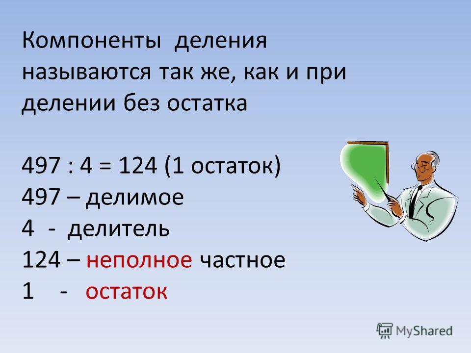 Компоненты деления называются так же, как и при делении без остатка 497 : 4 = 124 (1 остаток) 497 – делимое 4- делитель 124 – неполное частное 1- остаток