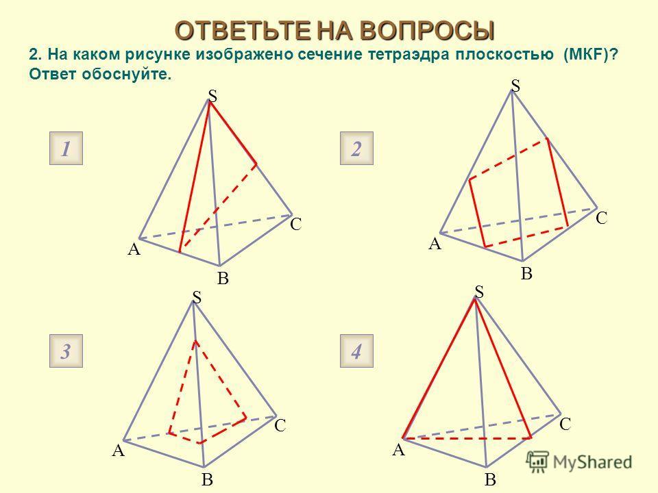 2. На каком рисунке изображено сечение тетраэдра плоскостью (МКF)? Ответ обоснуйте. ОТВЕТЬТЕ НА ВОПРОСЫ 1 3 2 4 A B C S A B C S A B C S A B C S