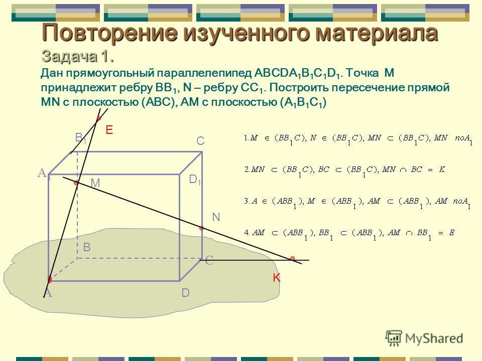 Повторение изученного материала Задача 1. Повторение изученного материала Задача 1. Дан прямоугольный параллелепипед ABCDA 1 B 1 C 1 D 1. Точка М принадлежит ребру BB 1, N – ребру СC 1. Построить пересечение прямой MN с плоскостью (АВС), АМ с плоскос