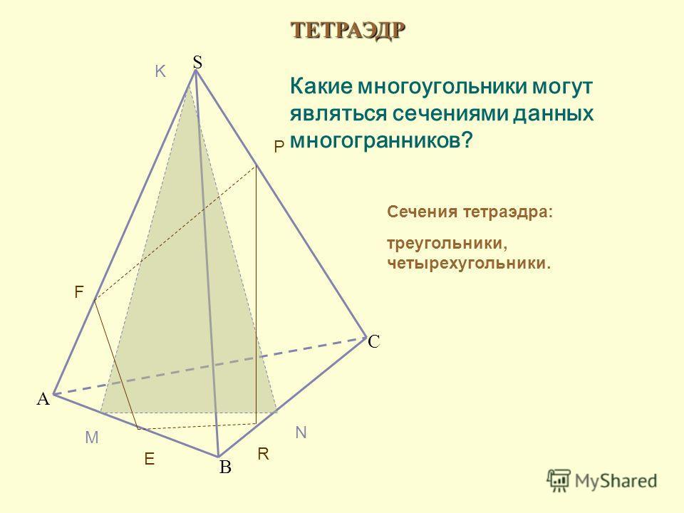 ТЕТРАЭДР A B C S Какие многоугольники могут являться сечениями данных многогранников? Сечения тетраэдра: треугольники, четырехугольники. M N K E F P R