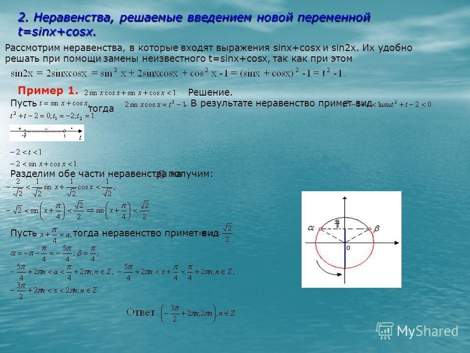 2. Неравенства, решаемые введением новой переменной t=sinx+cosx. x+2sinxcosx+cos x-1=(sinx+cosx) -1=t -1. Итак, t=sinx+cosx, t -1=sin2x. Рассмотрим неравенства, в которые входят выражения sinx+cosx и sin2x. Их удобно решать при помощи замены неизвест