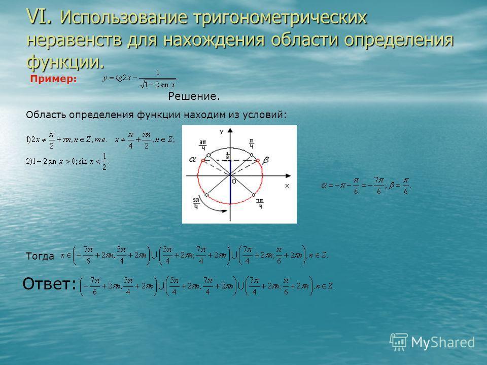 VI. Использование тригонометрических неравенств для нахождения области определения функции. Пример: Решение. Область определения функции находим из условий: Тогда Ответ: