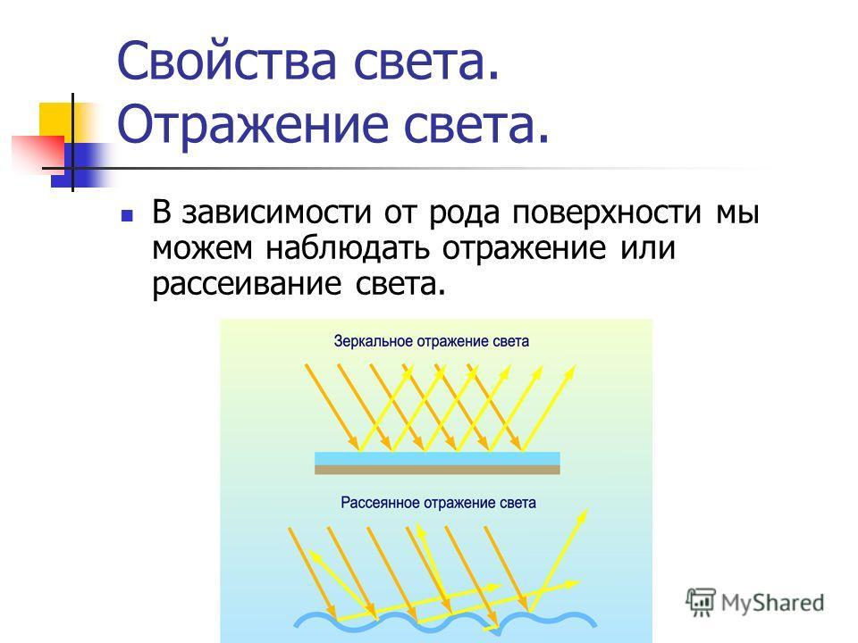 Свойства света. Отражение света. В зависимости от рода поверхности мы можем наблюдать отражение или рассеивание света.