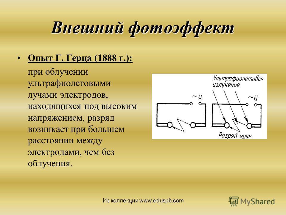 Внешний фотоэффект Опыт Г. Герца (1888 г.): при облучении ультрафиолетовыми лучами электродов, находящихся под высоким напряжением, разряд возникает при большем расстоянии между электродами, чем без облучения. Из коллекции www.eduspb.com