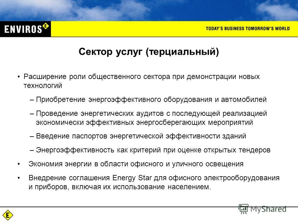 Сектор услуг (терциальный) Расширение роли общественного сектора при демонстрации новых технологий –Приобретение энергоэффективного оборудования и автомобилей –Проведение энергетических аудитов с последующей реализацией экономически эффективных энерг