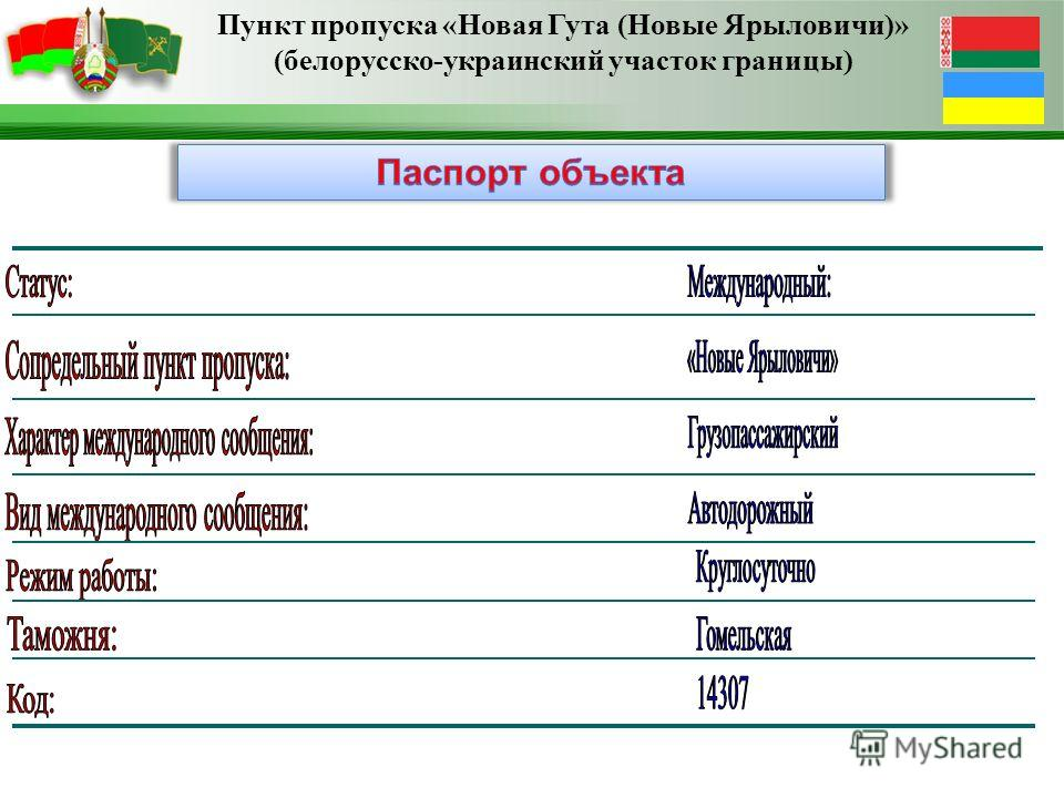 Пункт пропуска «Новая Гута (Новые Ярыловичи)» (белорусско-украинский участок границы)