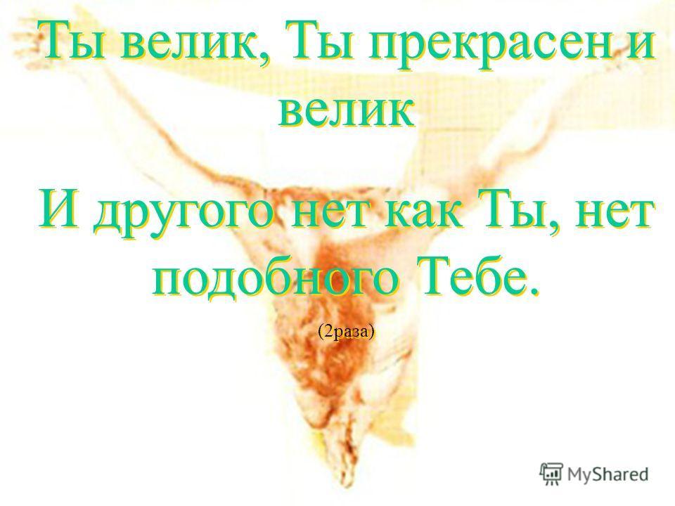 Ты велик, Ты прекрасен и велик И другого нет как Ты, нет подобного Тебе. (2раза) Ты велик, Ты прекрасен и велик И другого нет как Ты, нет подобного Тебе. (2раза)