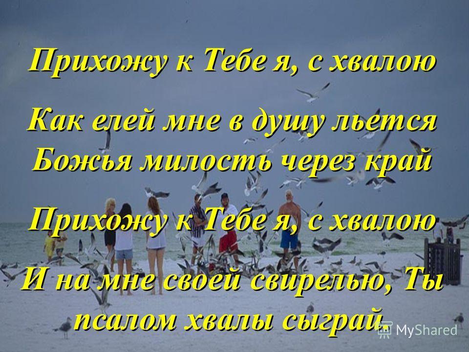 Прихожу к Тебе я, с хвалою Как елей мне в душу льется Божья милость через край Прихожу к Тебе я, с хвалою И на мне своей свирелью, Ты псалом хвалы сыграй. Прихожу к Тебе я, с хвалою Как елей мне в душу льется Божья милость через край Прихожу к Тебе я
