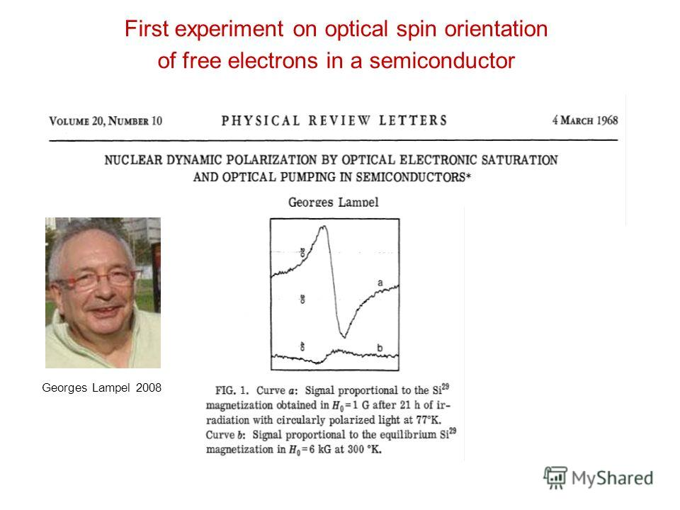 First experiment on optical spin orientation of free electrons in a semiconductor Georges Lampel 2008