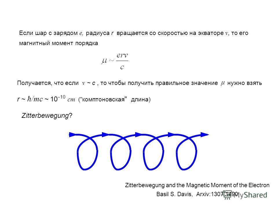 Если шар с зарядом e, радиуса r вращается со скоростью на экваторе v, то его магнитный момент порядка Получается, что если v ~ c, то чтобы получить правильное значение μ нужно взять r ~ ħ/mc ~ 10 10 cm (
