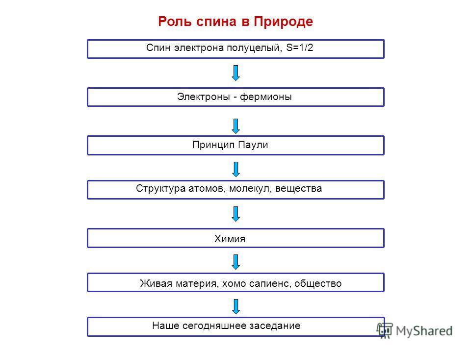Роль спина в Природе Спин электрона полуцелый, S=1/2 Электроны - фермионы Принцип Паули ХимияЖивая материя, хомо сапиенс, общество Наше сегодняшнее заседание Структура атомов, молекул, вещества