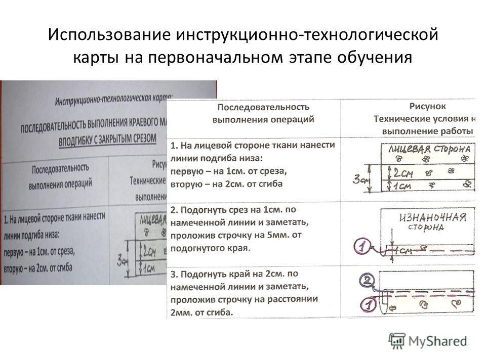 Использование инструкционно-технологической карты на первоначальном этапе обучения