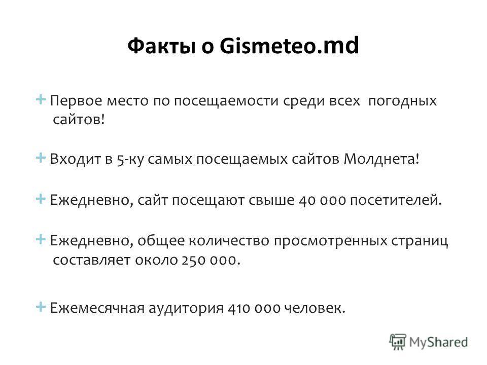 Факты о Gismeteo. md + Первое место по посещаемости среди всех погодных сайтов! + Входит в 5-ку самых посещаемых сайтов Молднета! + Ежедневно, сайт посещают свыше 40 000 посетителей. + Ежедневно, общее количество просмотренных страниц составляет окол